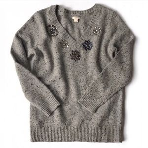 J. Crew Sweaters - JCrew  jeweled lambswool Donegal sweater grey S